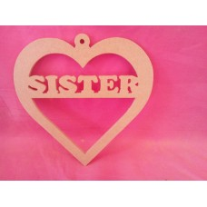 4mm MDF Hanging  Heart Sister